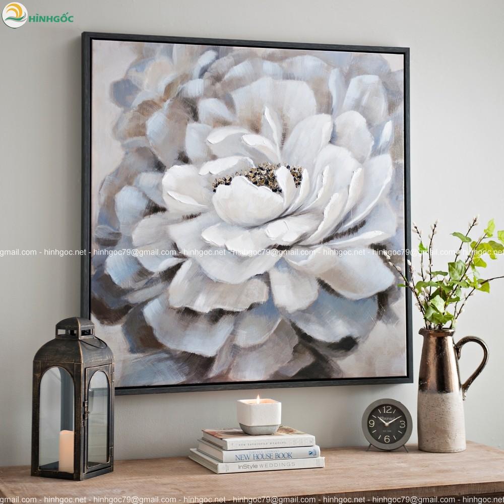 Tranh bông hoa trắng nở tỏa hương