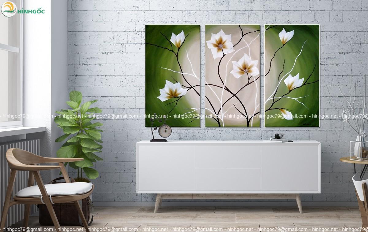 Tranh bộ 3 bức, hoa nở