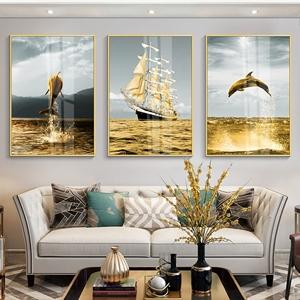 Tranh 3D thuyền biển cá heo