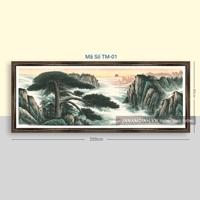 Tranh thủy mặc sơn thủy hữu tình cây và thác nước