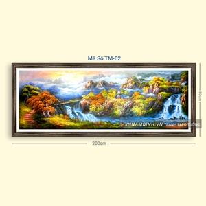 Tranh sơn thủy hữu tình cây núi và thác nước đẹp