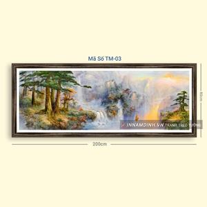 Tranh sơn thủy cây và thác nước tuyệt đẹp