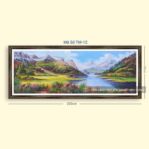 Tranh sơn thủy hữu tình cây và núi trên sông
