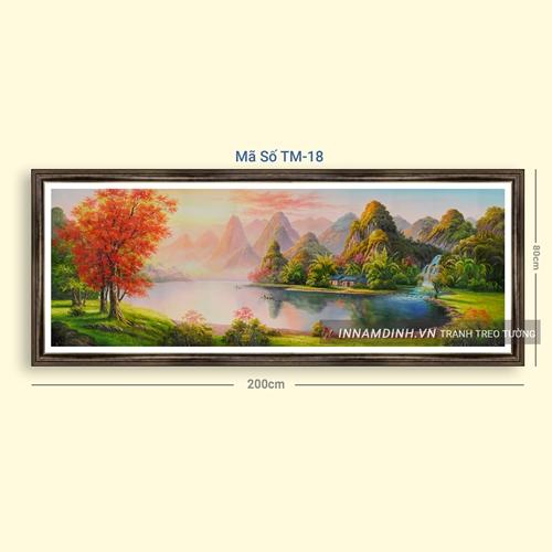 Tranh sơn thủy hữu tình khung cảnh thiên nhiên đẹp
