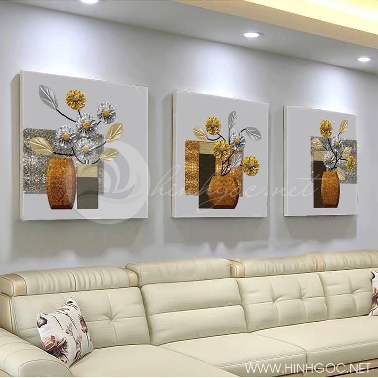 Tranh lọ hoa, bộ 3 bức trang trí