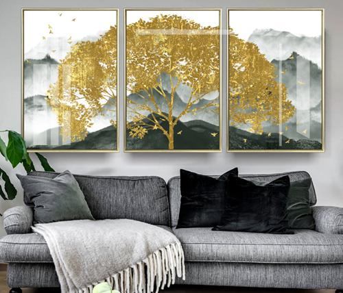 Tranh bộ 3 ghép cây lá vàng
