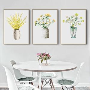 Tranh bộ 3 bức, lọ hoa trang trí tường đẹp
