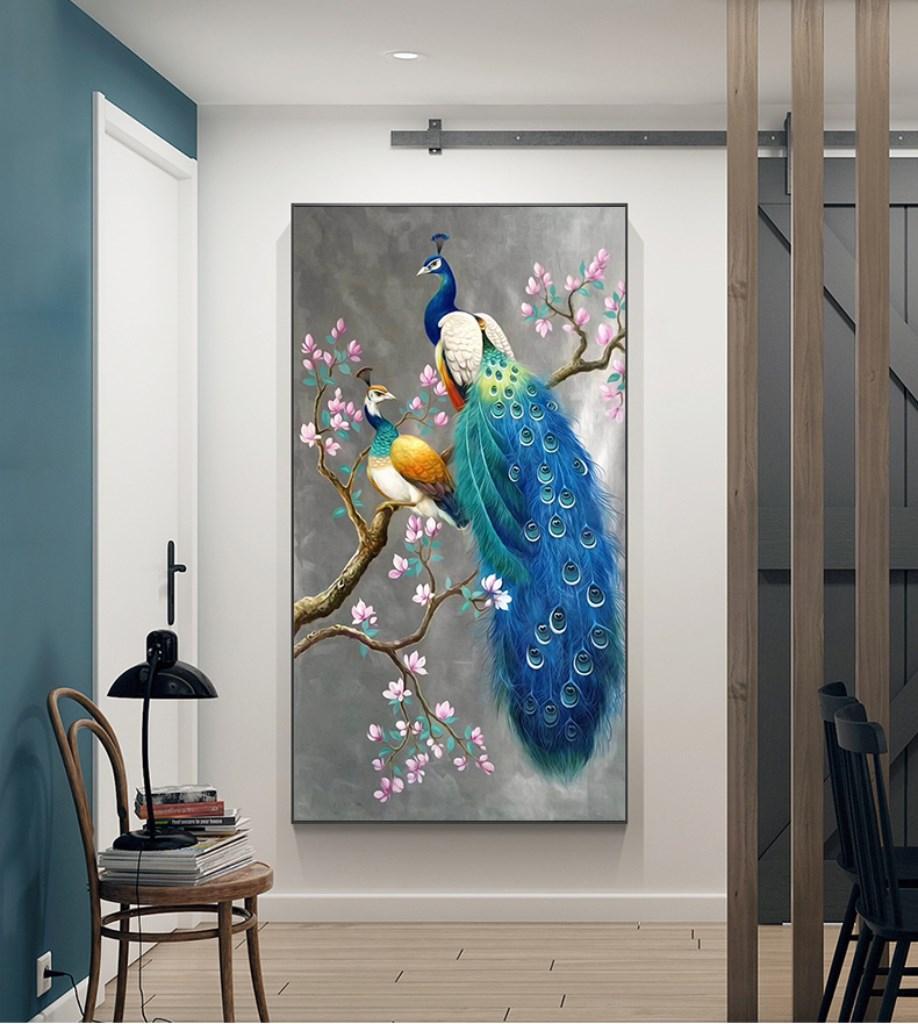 Tranh treo tường, con chim công đẹp