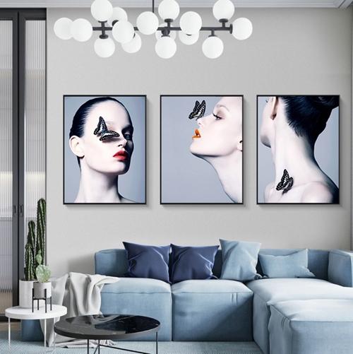 Tranh chân dung, bộ 3 bức tranh thời trang cô gái