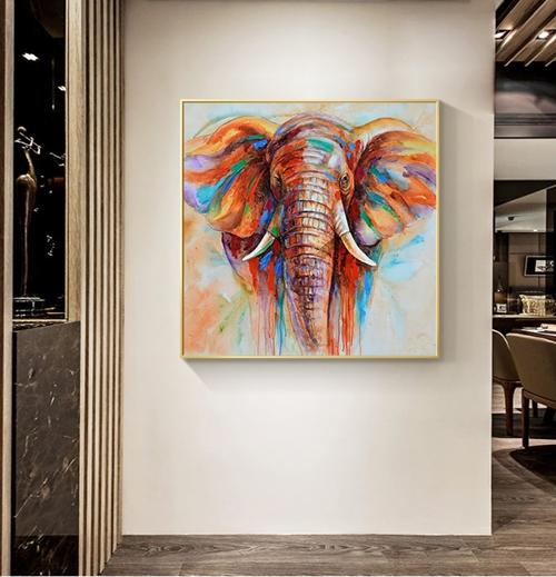 Tranh treo tường, con voi sắc màu nghệ thuật