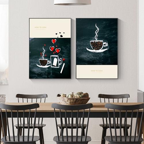Tranh ẩm thực, bộ 2 bức trang trí quán cà phê