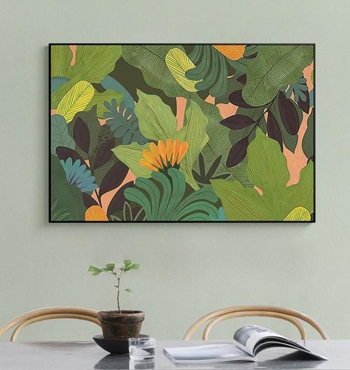 Tranh treo tường, hoa lá tươi xanh