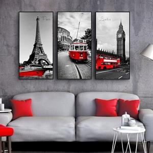 Tranh bộ 3 bức, cây tháp và xe ô tô đỏ