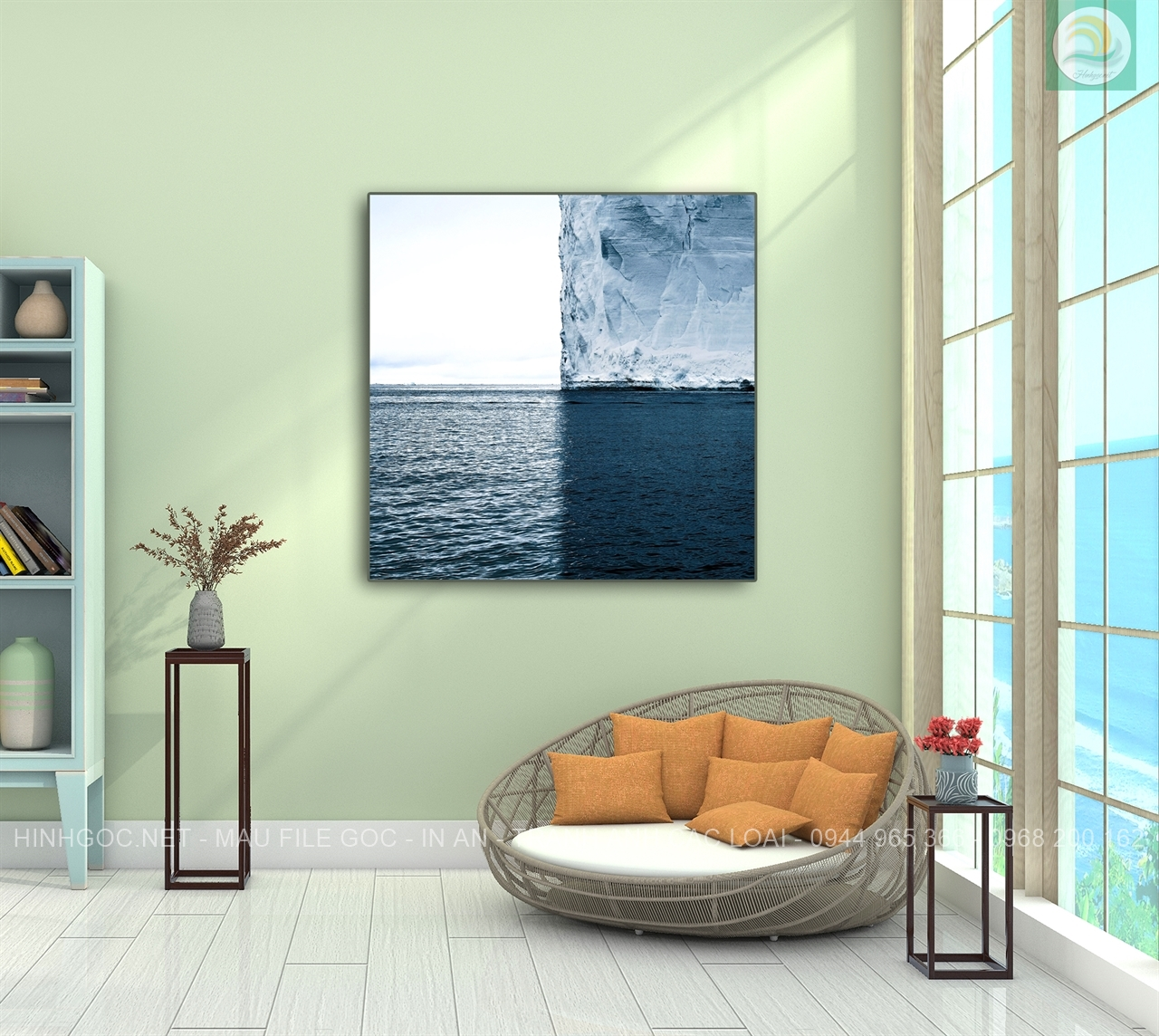 Tranh phong thủy, phong cảnh biển và núi