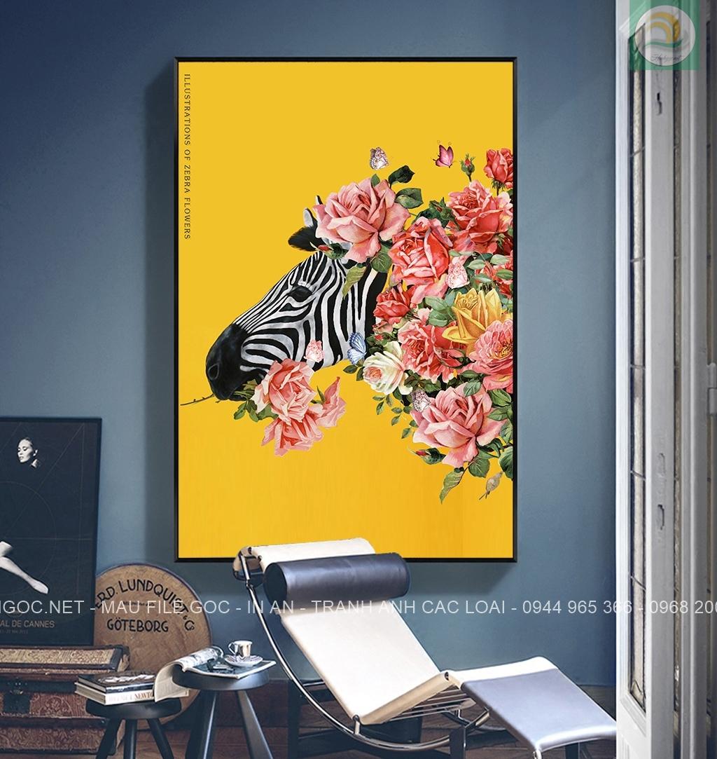 Tranh treo tường, đầu ngựa vằn và hoa