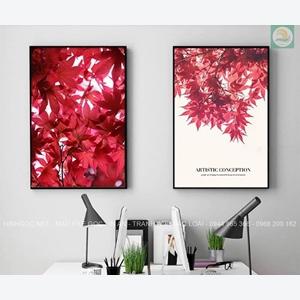 Tranh treo tường, bộ 2 bức cành lá đỏ