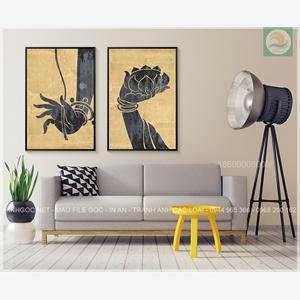 Tranh bộ 2 bức, cánh tay hình hoa sen nghệ thuật