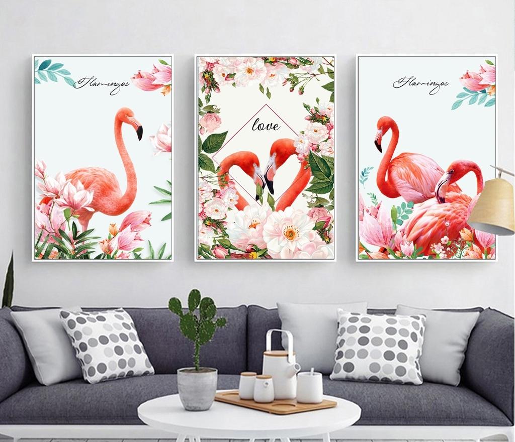 Tranh bộ 3 bức, đôi chim hạc love và hoa