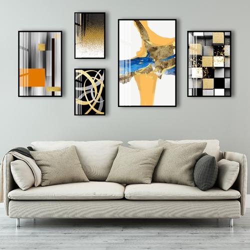 Bộ tranh 5 bức trừu tượng sắc màu