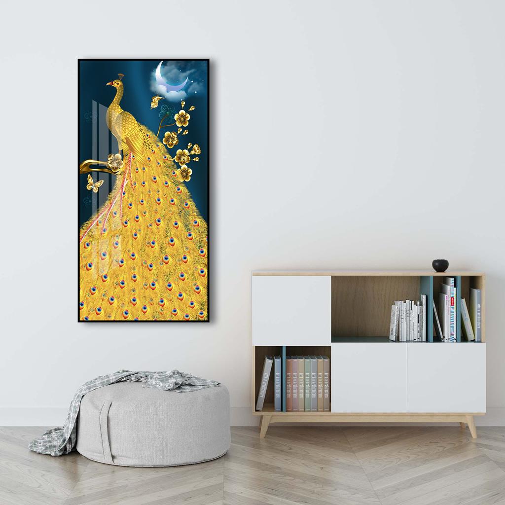 Tranh chim công và hoa cùng vầng trăng
