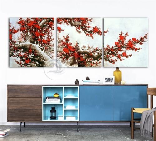 Tranh bộ 3 bức, cành cây cổ thụ hoa đỏ
