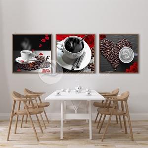 Tranh trang trí quán cà phê, bộ 3 bức cốc cà phê đen
