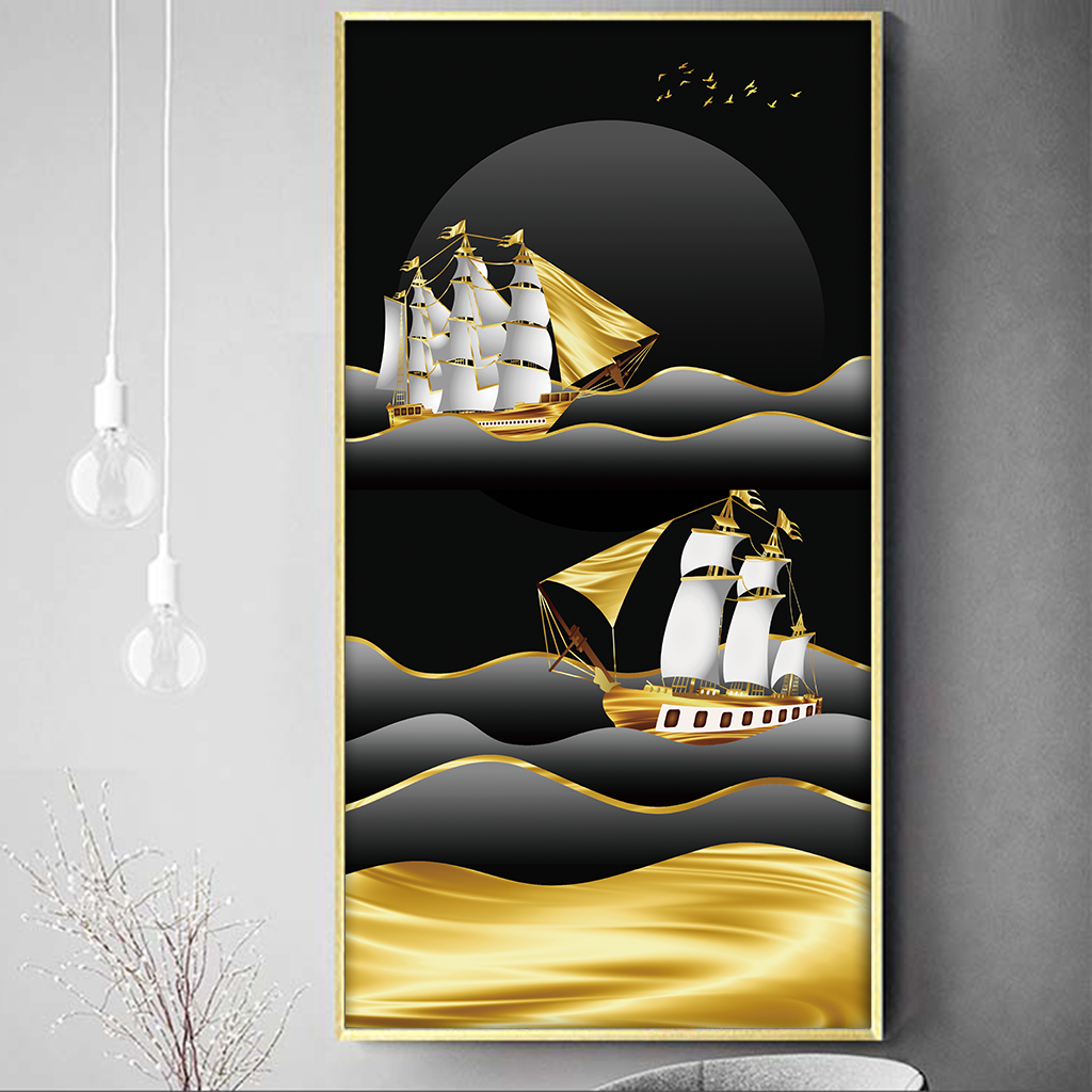 Tranh thuận buồm xuôi gió, dải vân trừu tượng