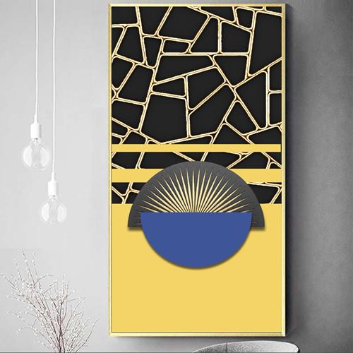Tranh trừu tượng, họa tiết vàng đen