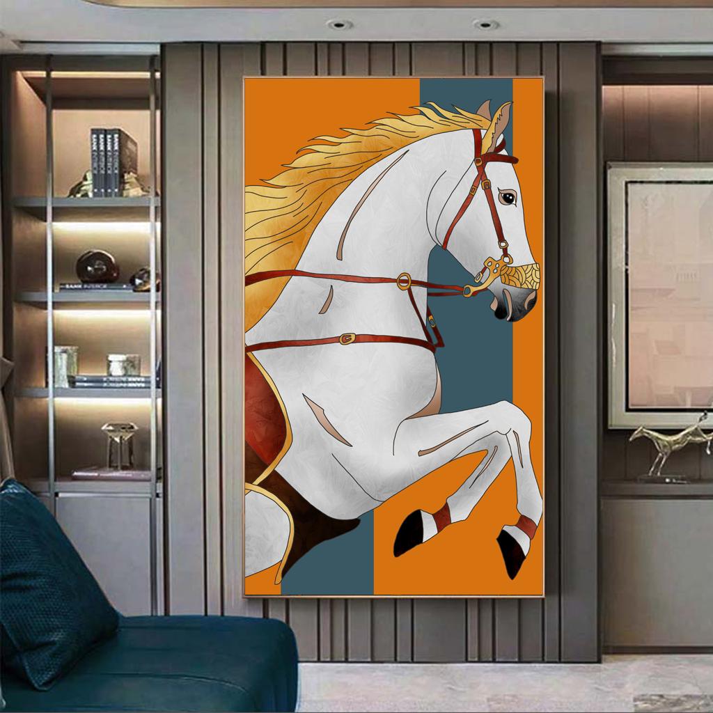 Tranh treo tường, con ngựa trắng đẹp
