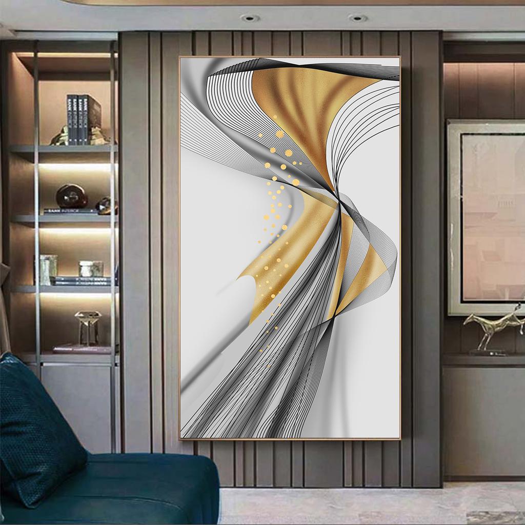 Tranh trừu tượng, dải vân xoắn vàng đen