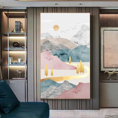 Tranh sơn thủy, dãy núi nhiều màu và đàn chim