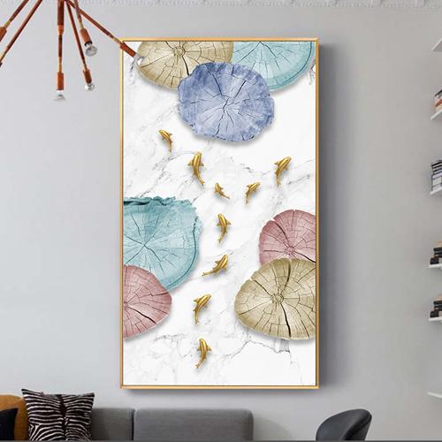 Tranh cửu ngư quần hội, cá vàng và hình họa tiết