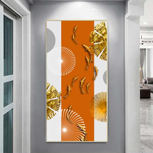 Tranh treo tường, đàn cá vàng, hình họa tiết trừu tượng