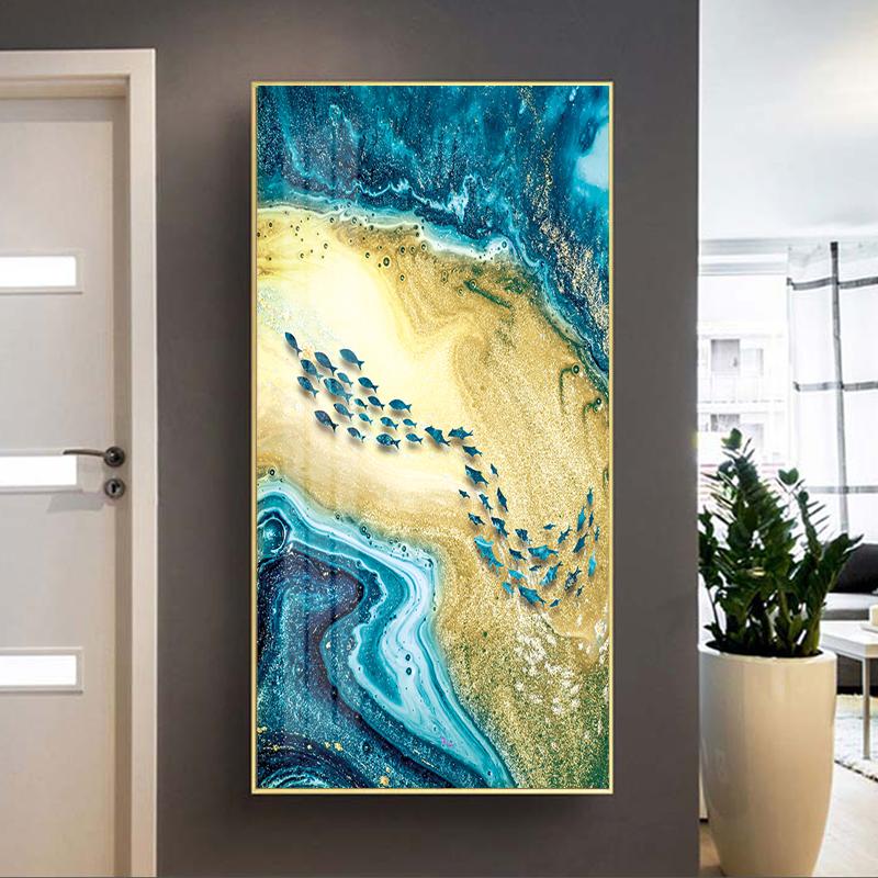 Tranh treo tường, đàn cá xanh đang bơi vui vẻ