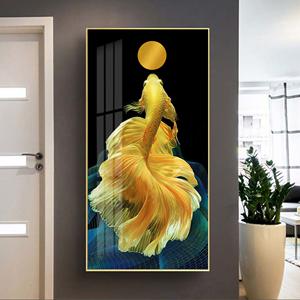 Tranh treo tường, cá chọi vàng và mặt trăng