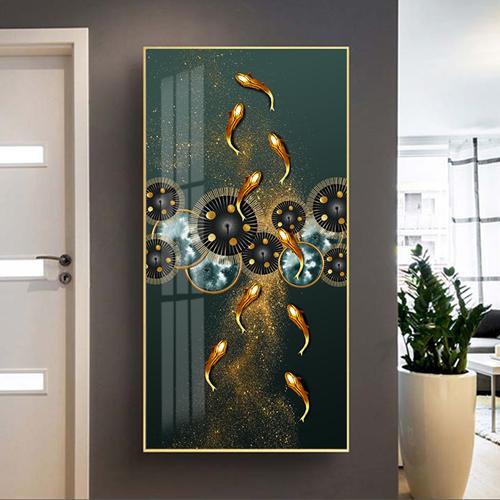 Tranh đàn cá vàng và hình tròn họa tiết