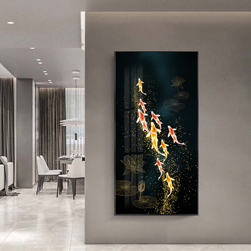 Tranh cá chép và hoa sen họa tiết