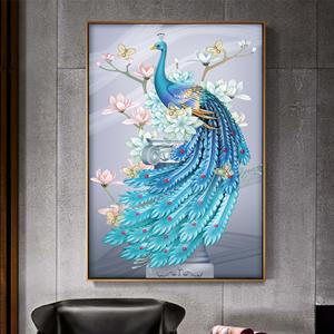 Tranh chim công và hoa mẫu đơn sắc màu