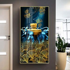 Tranh treo tường, con voi xanh và bình trang trí