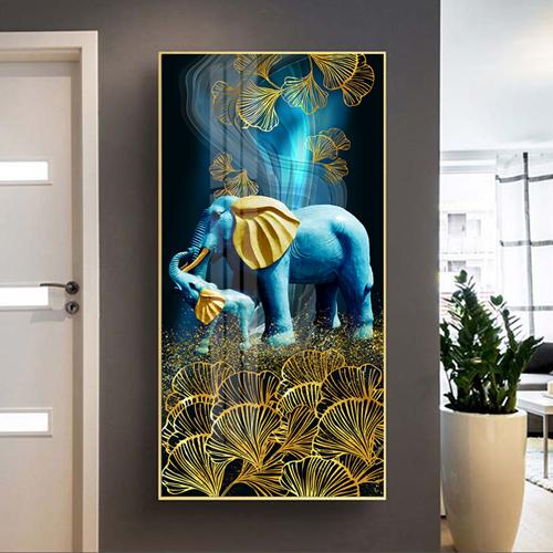 Tranh động vật, con voi xanh ngà vàng