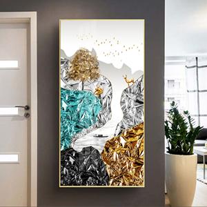 Tranh trừu tượng, hươu đứng trên núi sắc màu