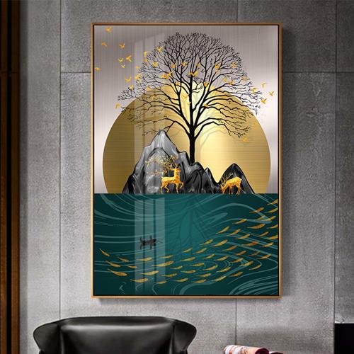 Tranh trừu tượng, nghệ thuật hươu và đàn cá vàng