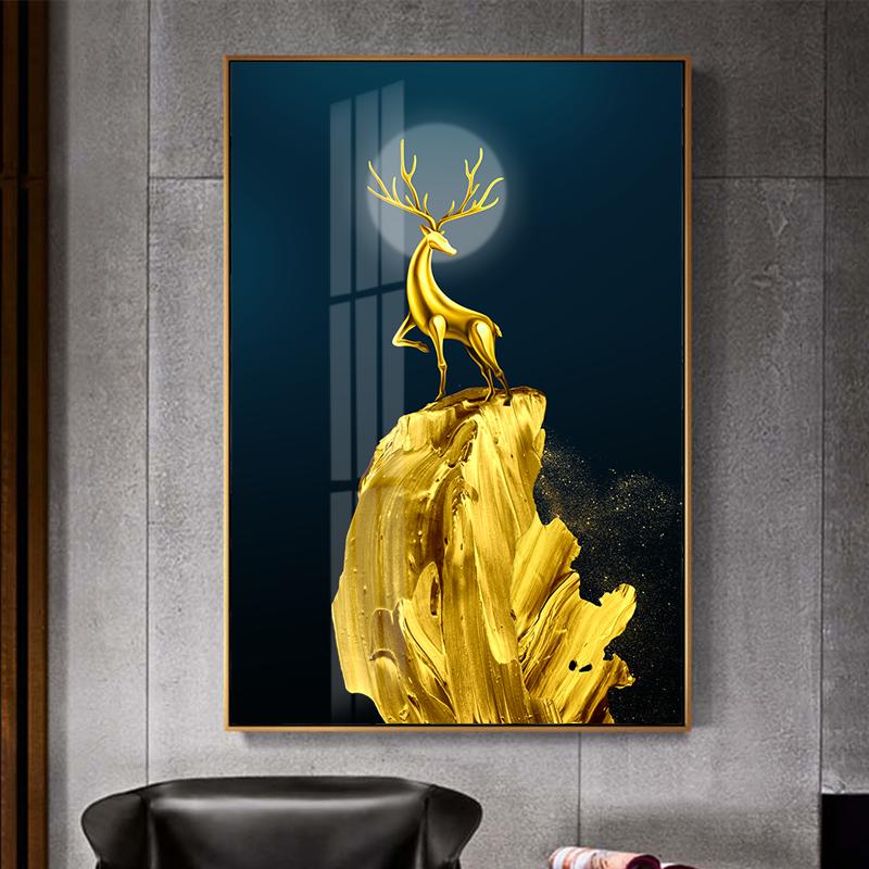 Tranh treo tường, hươu đứng trên núi vàng