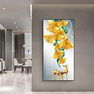 Tranh treo tường, hươu và lá sắc màu