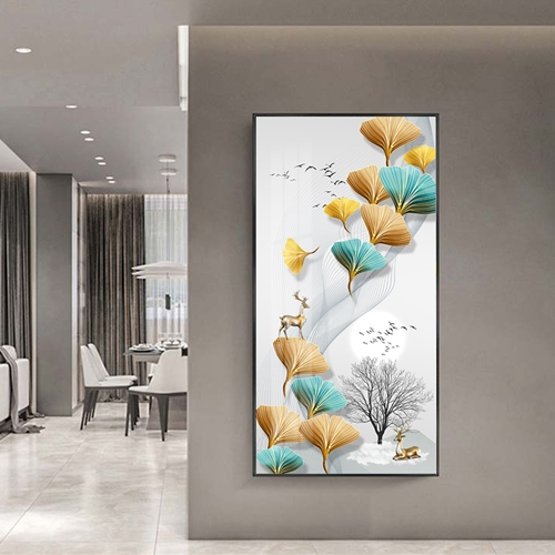 Tranh treo tường, hươu và lá nghệ thuật