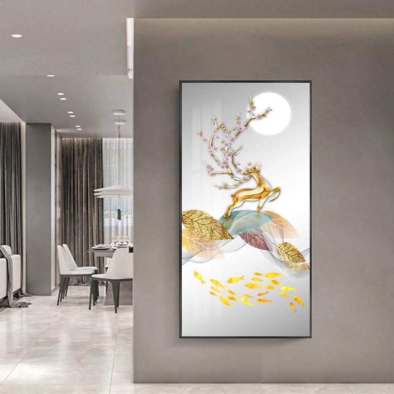 Tranh trừu tượng, hươu đứng trên cành lá nghệ thuật