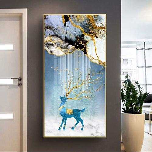 Tranh treo tường, hươu xanh sừng vàng trừu tượng