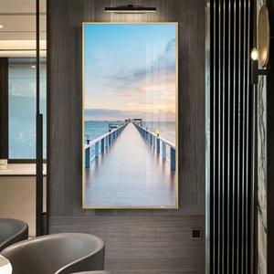 Tranh treo tường, cây cầu trên biển xanh