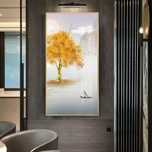Tranh treo tường, cây tuần lộc vàng mọc trên sông