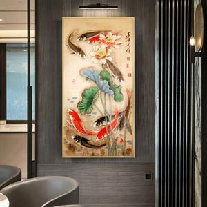 Tranh treo tường, cá chép và hoa sen